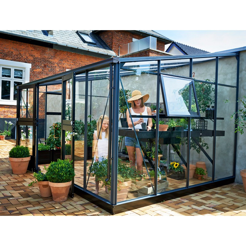 Serre veranda anthracite et verre tremp 12 9m juliana for Veranda de jardin