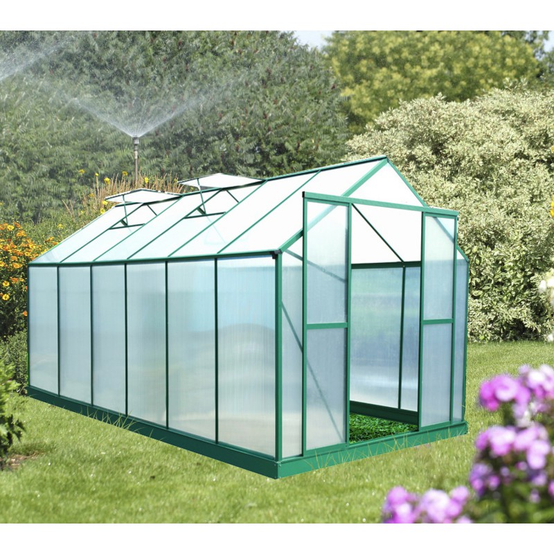 serre de jardin 12 8m polycarbonate 6mm embase. Black Bedroom Furniture Sets. Home Design Ideas