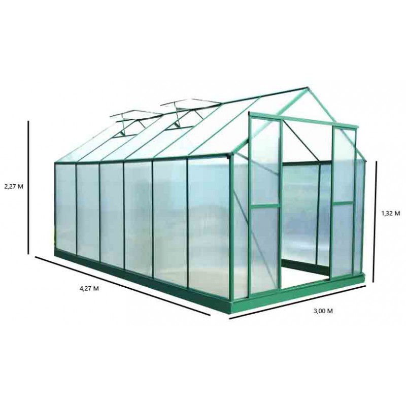 de jardin 12,8m² polycarbonate 6mm + embase