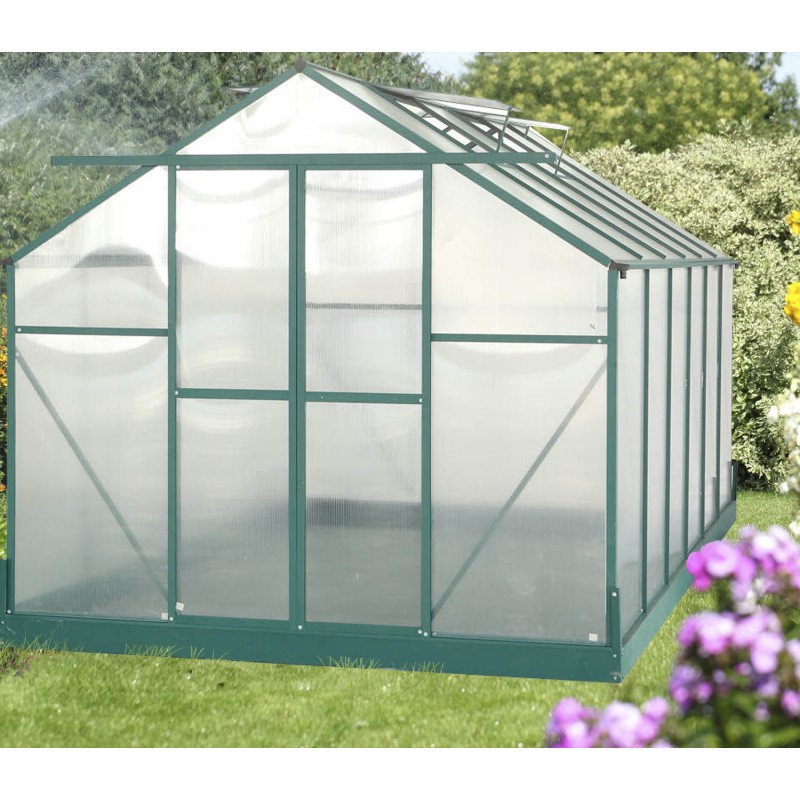 serre de jardin 10 66m verte en polycarbonate 6mm base. Black Bedroom Furniture Sets. Home Design Ideas