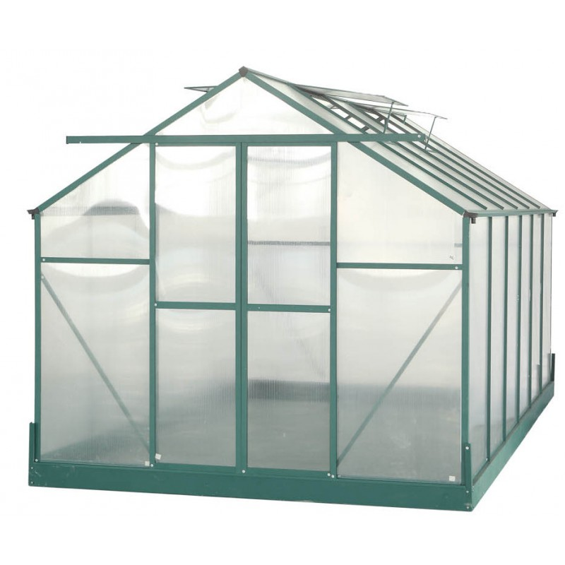 serre de jardin 10 37m verte en polycarbonate 6mm base. Black Bedroom Furniture Sets. Home Design Ideas