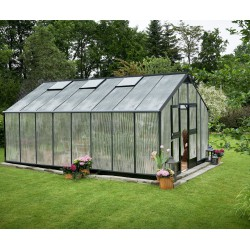 Serre anthracite 21,4m² en polycarbonate 10mm Gardener - Juliana