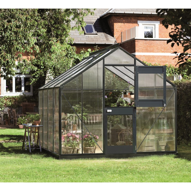 Serre anthracite 8 3m en polycarbonate 6mm junior juliana - Serre de jardin adossee polycarbonate ...