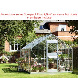 Promo serre de jardin 9,9m² en verre Junior + embase Juliana