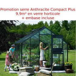 Promo serre de jardin 9,9 m² anthracite en verre Junior + embase Juliana