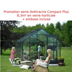 Promo serre de jardin 8,3m² anthracite en verre Junior + embase Juliana