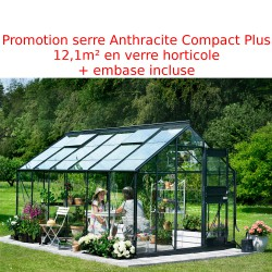 Promo serre de jardin 12,1m² anthracite et verre Junior + embase Juliana