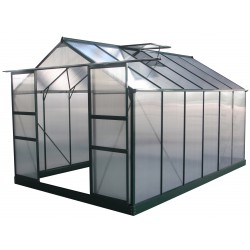 Serre de jardin 9,13m² verte en polycarbonate 4mm + embase Green Protect