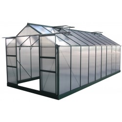 Serre de jardin 16,9m² verte en polycarbonate 4mm + embase Green Protect