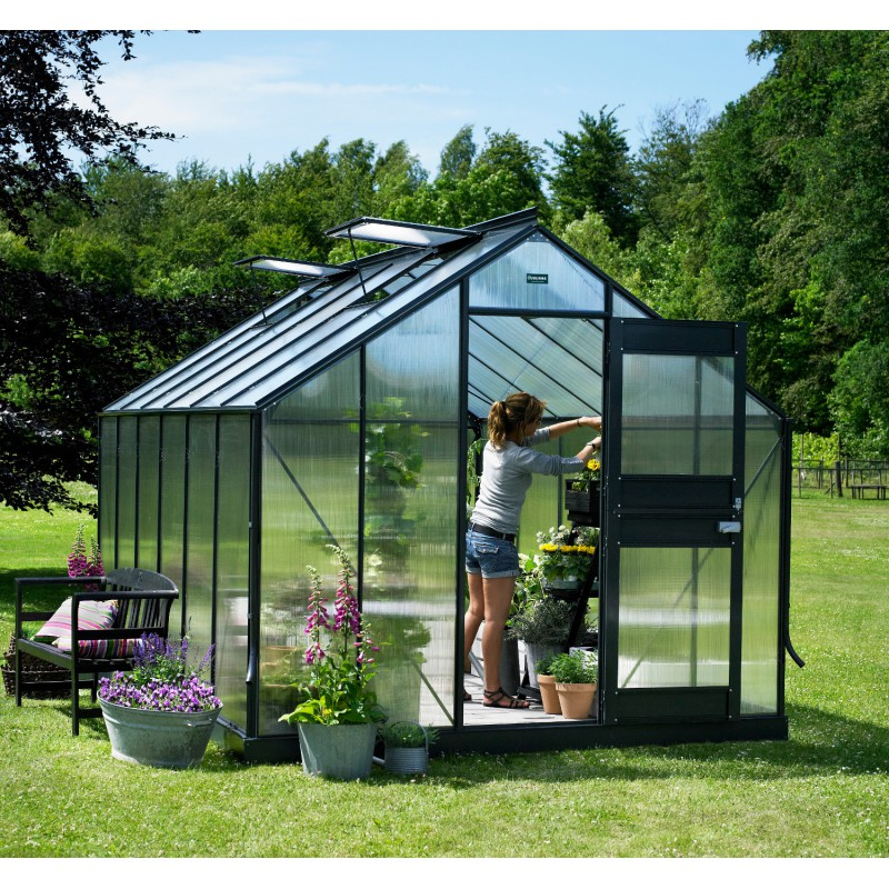 Promo serre anthracite 9 9 m en polycarbonate 6mm junior embase juliana - Serre jardin discount ...