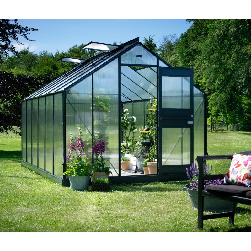 Promo serre anthracite 9 9 m en polycarbonate 6mm junior embase juliana - Serre de jardin discount ...