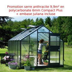 Promo serre anthracite 9,9 m² en polycarbonate 6mm Junior + embase Juliana