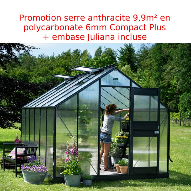 promo serre anthracite 9 9 m en polycarbonate 6mm junior embase juliana. Black Bedroom Furniture Sets. Home Design Ideas