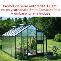 Promo serre de jardin 12,1m² anthracite en polycarbonate 6mm Junior + base Juliana