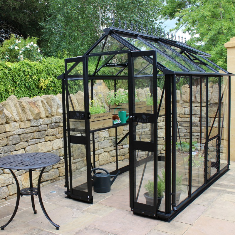 serre de jardin 3 78m en verre tremp birdlip noire eden greenhouses. Black Bedroom Furniture Sets. Home Design Ideas