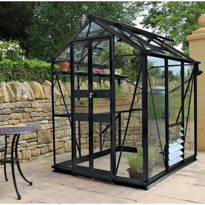 serre de jardin 2 87m en verre tremp birdlip noire eden greenhouses. Black Bedroom Furniture Sets. Home Design Ideas