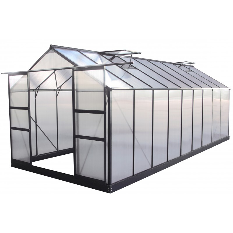 Serre de jardin 16 9m anthracite en polycarbonate 4mm - Mini serre polycarbonate ...