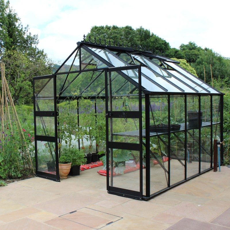 serre de jardin 8 13m en verre tremp blockley noire eden greenhouses. Black Bedroom Furniture Sets. Home Design Ideas