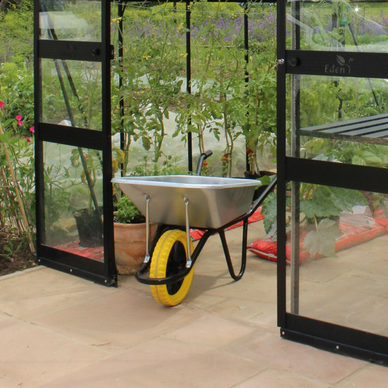 serre de jardin 9 71m en verre tremp blockley noire eden greenhouses. Black Bedroom Furniture Sets. Home Design Ideas