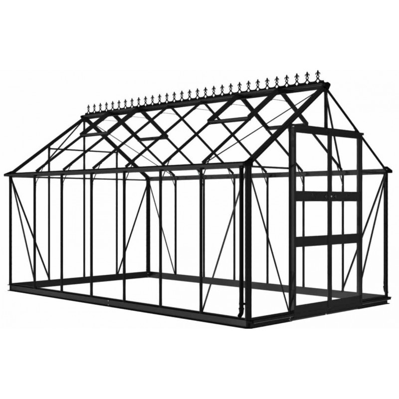 serre de jardin 11 3m en verre tremp blockley noire eden greenhouses. Black Bedroom Furniture Sets. Home Design Ideas
