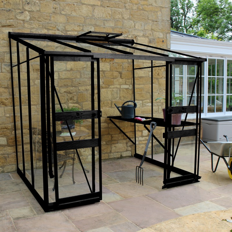 serre adoss e 4 93m en verre tremp broadway noire eden greenhouses. Black Bedroom Furniture Sets. Home Design Ideas