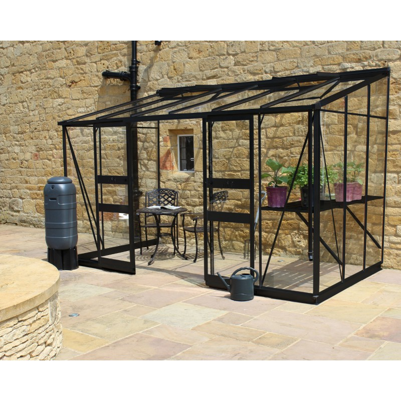 serre adoss e 7 24m en verre tremp broadway noire eden greenhouses. Black Bedroom Furniture Sets. Home Design Ideas