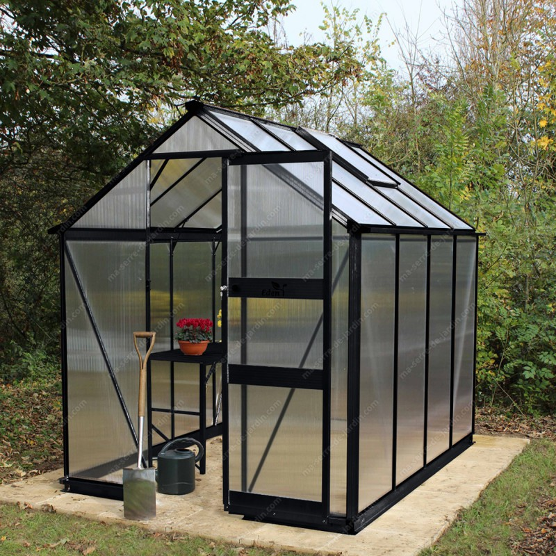serre de jardin 4 97m polycarbonate 6mm burford noire eden greenhouses. Black Bedroom Furniture Sets. Home Design Ideas
