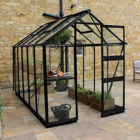 serre de jardin 6 17m en verre tremp burford noire eden greenhouses. Black Bedroom Furniture Sets. Home Design Ideas