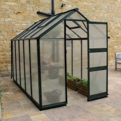 Serre de 6,17m² en polycarbonate 6mm BURFORD verte - Eden Greenhouses
