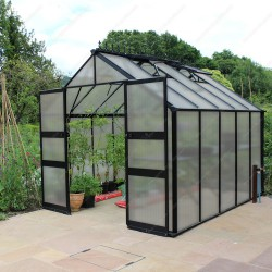 Serre 8,13m² en polycarbonate 6mm BLOCKLEY noire - Eden Greenhouses