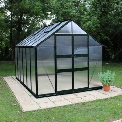 Serre de 9,71m² en polycarbonate 6mm BLOCKLEY verte - Eden Greenhouses