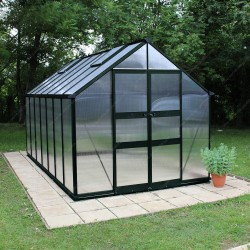 Serre de 11,3m² polycarbonate 6mm BLOCKLEY verte - Eden Greenhouses