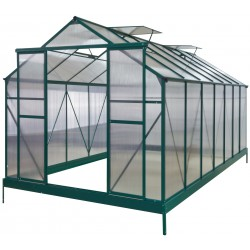 Serre de jardin 12,2m² verte polycarbonate 4mm + embase Green Protect