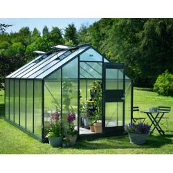 Serre de jardin 12,1m² anthracite en polycarbonate 6mm Junior - Juliana