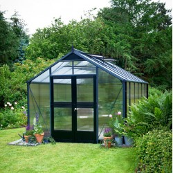 Serre de jardin 8,8m² anthracite en polycarbonate 10mm Premium – Juliana