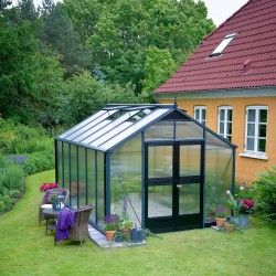 Serre de jardin 10,9 m² anthracite en polycarbonate 10mm Premium – Juliana