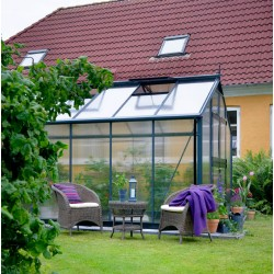 Serre de jardin 13m² anthracite en polycarbonate 10mm Premium – Juliana